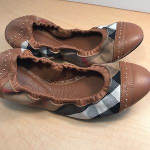 Burberry Brown Leather Ballerina Flats Shoes